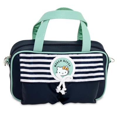 Τσάντα μπλέ/φυστικί ριγέ με τσέπη Hello Kitty